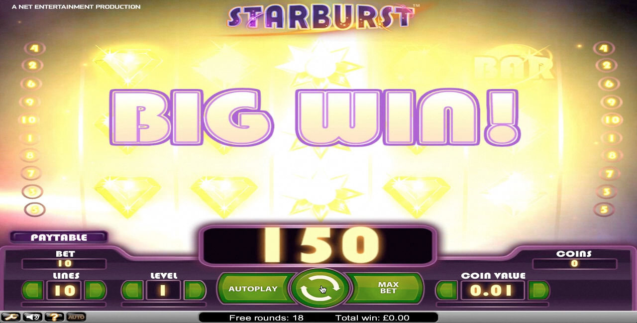 Winning on the slot game Starburst.